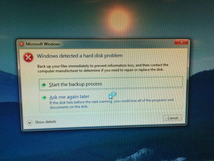 Windowsエラー警告
